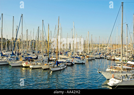 Sailing ships in the harbour, Barcelona, Catalonia, Spain - Stock Photo