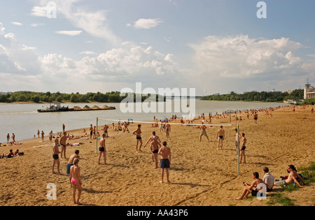 Beachside at the River Irtisch, Bather and Sunner at the Beachside of River Irtisch, Beach Volleyball, Transport - Stock Photo