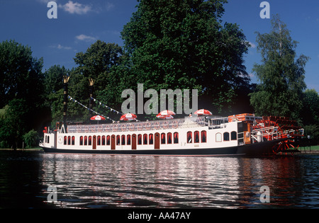 Tourist paddle steamer  'The New Orleans'  on the River Thames approaching Henley on Thames, England - Stock Photo