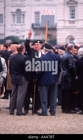 World War II veterans gathering on Horse Guards Parade in preparation to march on Remembrance Day, City of Westminster, - Stock Photo