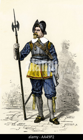 Swedish soldier in New Sweden Colony in the 1600s, now the state of Delaware. Hand-colored woodcut - Stock Photo