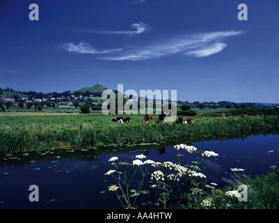 Glastonbury Tor and the River Brue Somerset England UK - Stock Photo