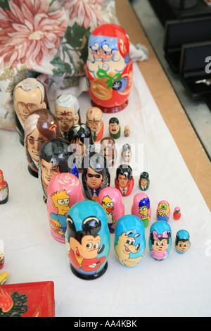 Russian dolls Wells market Somerset England UK - Stock Photo