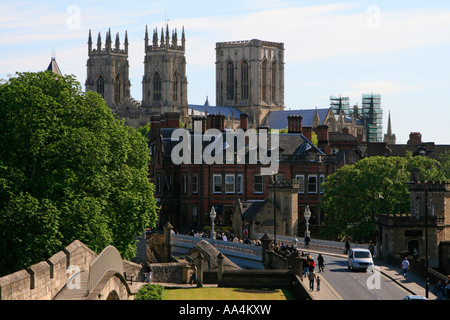 York minster cathedral from the city walls york england - Stock Photo