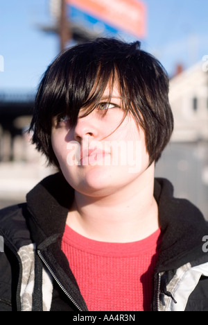 Teenage girl outdoors, wistful Stock Photo, Royalty Free ...