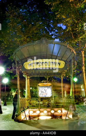 Paris, France, Old Metro Underground Entrance 'Montmartre Area' 'Abbesses Station' Lit up at Night - Stock Photo