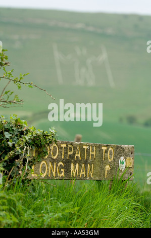 The Long man of Wilmington East Sussex. Picture by Jim Holden. - Stock Photo