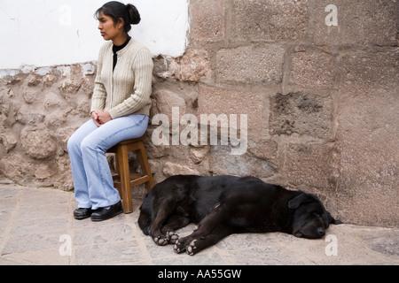 Dog sleeping in the street in Cuzco,  Peru - Stock Photo