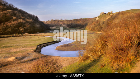 Pennard Castle and Pennard Pill, Three Cliffs Bay, Gower, south Wales - Stock Photo