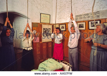 Ringing the church bells at St Mary's, Twyford, Hampshire - Stock Photo