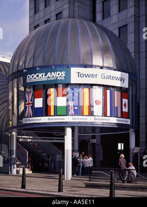 Entrance to Docklands Light Railway Tower Gateway train station Tower Hamlets London England UK - Stock Photo