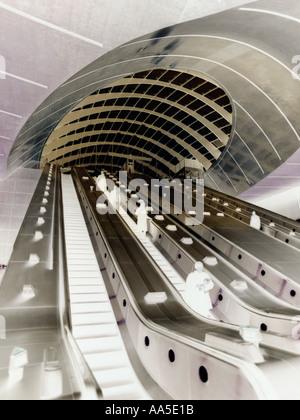Canary Wharf London Underground Tube Station Jubilee Line escalator cluster entrance as negative image Isle of Dogs - Stock Photo