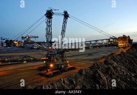 Garzweiler II open cast coal mine near Cologne, Germany; bucketwheel excavator. - Stock Photo