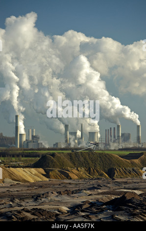 Garzweiler open cast coal mine and Frimmersdorf  power station , near Cologne, Germany. - Stock Photo
