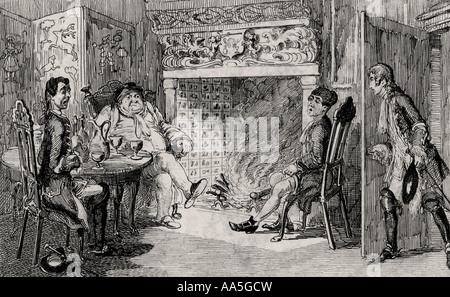 Francis Osbaldistone at Squire Inglewood's. Engraving by Cruikshank dated 1842 of scene from Sir Walter Scott's - Stock Photo