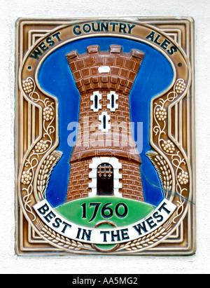 WEST COUNTRY ALES 1760 BEST IN THE WEST sign on a pub at Berkeley Gloucestershire England UK GB - Stock Photo