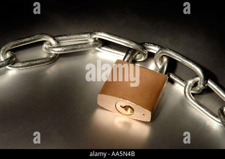 Chain and closed padlock - Stock Photo