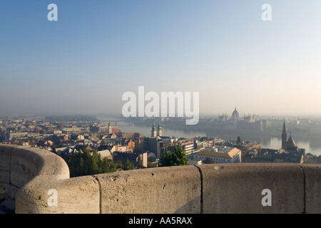 Budapest, Hungary. View towards Parliament from the Fishermen s Bastion on Castle Hill - Stock Photo