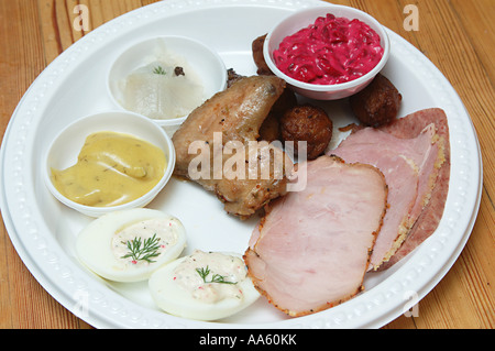 ANG103873 Christmas Plate Jul Tallrik Sweden with Mustered Sill fish - Stock Photo
