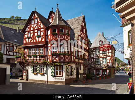 Famous old red house in Bacharach, Germany - the Altes Haus, Rhineland, Rhine Valley - Stock Photo