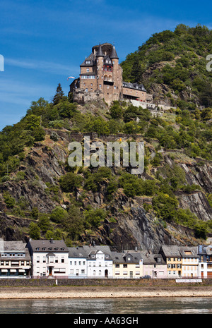 Castle Katz above St Goarshausen in the Rhine Valley, Rhineland, Germany Europe - Stock Photo