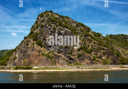 The Loreley rock in the upper middle River Rhine valley, Germany, Europe - Stock Photo