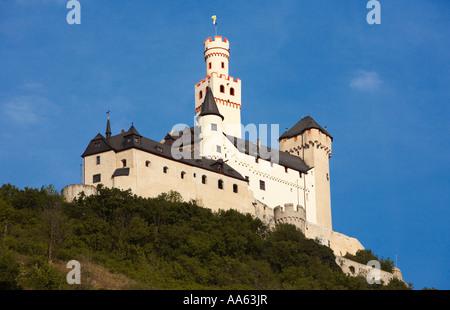 Marksburg Castle, a Rhine Castle on the River Rhine, Rhineland, Germany - Stock Photo