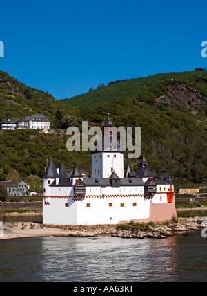 Castle Pfalz on the River Rhine, Germany, Europe - Stock Photo