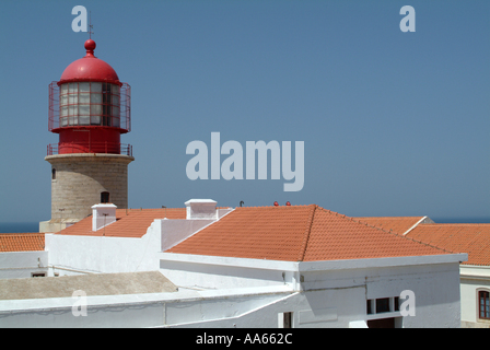 Famous Cliff Top Lighthouse at Cape St Vincent Algarve Portugal - Stock Photo