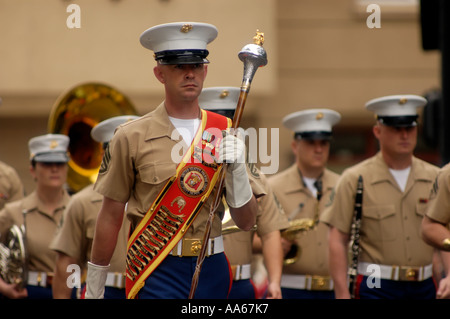 Marine band marching in St.Patrick's Day Parade San Diego California USA - Stock Photo