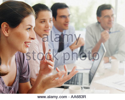 Group of office workers in a meeting - Stock Photo