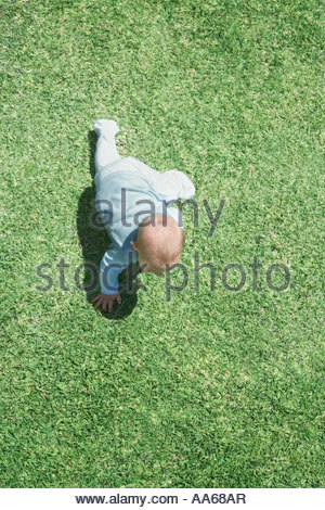 Aerial view of baby crawling on grass - Stock Photo