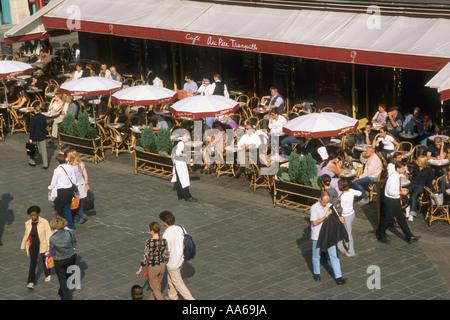 France Paris rue Pierre Lescot café people - Stock Photo