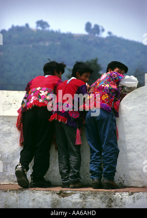 THREE ZINACANTAN MAYAN INDIAN BOYS IN SAN LORENZO ZINACANTAN CHIAPAS MEXICO - Stock Photo