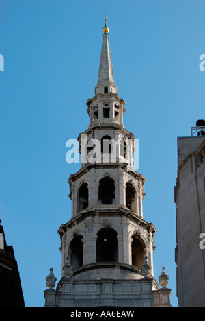 Spire of St Brides Church from Fleet Street - Stock Photo