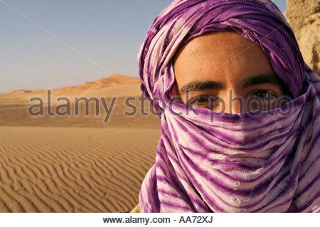 Tuareg Berber boy Saharan Desert Morocco - Stock Photo
