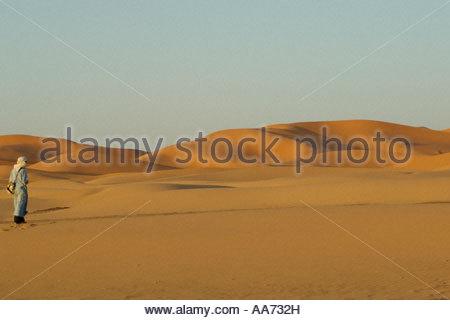 Tuareg berber on edge of the Sahara Desert Morocco - Stock Photo