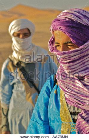 Tuareg Berber Boys Saharan Desert Merzouga Morocco  North Africa - Stock Photo
