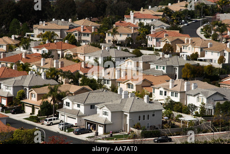 Aerial view of a housing development in Turtle Rock neighborhood, Irvine, CA, the largest planned community in the - Stock Photo
