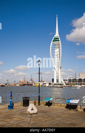 Millennium Spinnaker Tower and Gunwharf Quays across harbour from the Point in old Portsmouth Hampshire England - Stock Photo