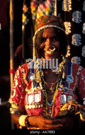 Female Karnatakan market trader at Anjuna Market, Goa, South India - Stock Photo