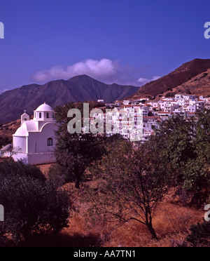Greece Dodecanese Islands Karpathos Church and hillside village of Aperi - Stock Photo