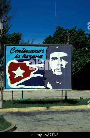 Che Guevara billboard, Varadero, Province of Matanzas, Cuba - Stock Photo