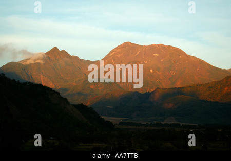 Last sunlight on Volcan Baru, 3475 m, in the Chiriqui province, Republic of Panama. - Stock Photo