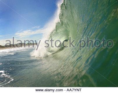 Ocean waves curling - Stock Photo