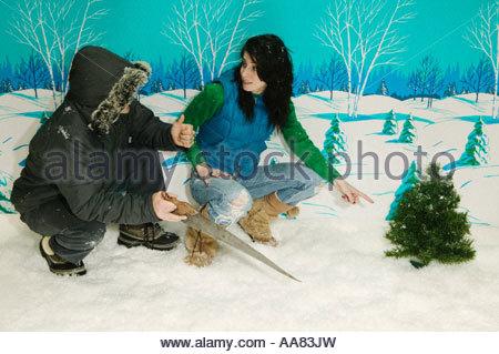 Couple chopping down miniature Christmas tree - Stock Photo
