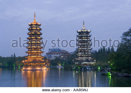 Pagodas in Guilin, China - Stock Photo