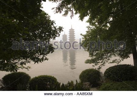 Twin pagodas in Guilin, China - Stock Photo