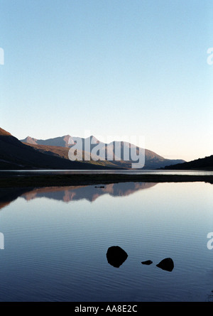 Crystal clear atmosphere on Loch Etive in the Great Glenn Scotland - Stock Photo
