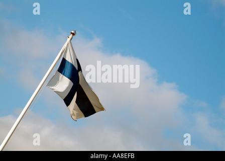 finnish flag finland suomi white flag with blue cross national identity flutter fluttering - Stock Photo